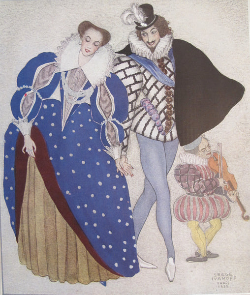 1937 French Vintage Poster, Aristocratic Couple - Serge Ivanoff