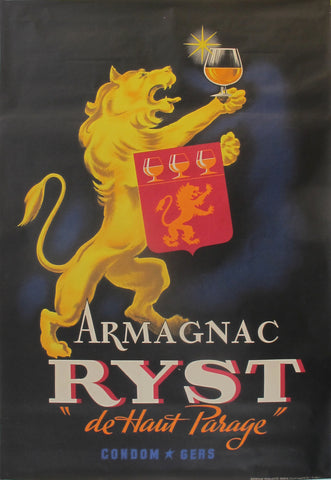 "1940s Original French Advertising Poster - Armagnac Ryst ""Au Haut Parage"""