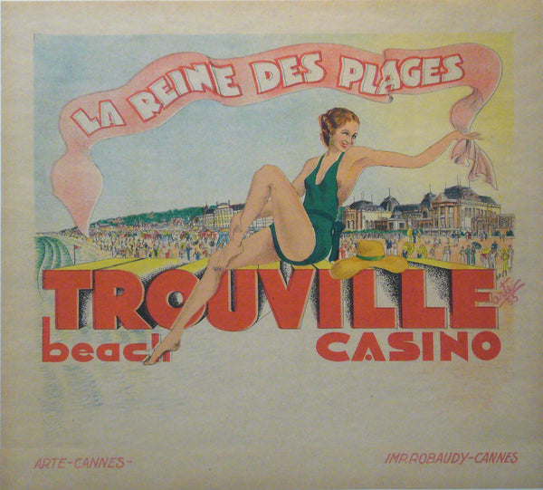 1933 Original French Art Deco Travel Poster, Trouville la Reine des Plages