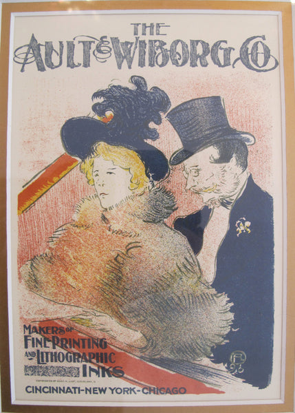 1950 Vintage Ault & Wiborg Lithographic Plate, Toulouse Lautrec (framed)