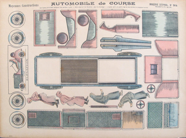 "1900's Original Vintage French Race Car Paper model poster, ""Automobile de Course"", Imagerie D'Epinal No 914"