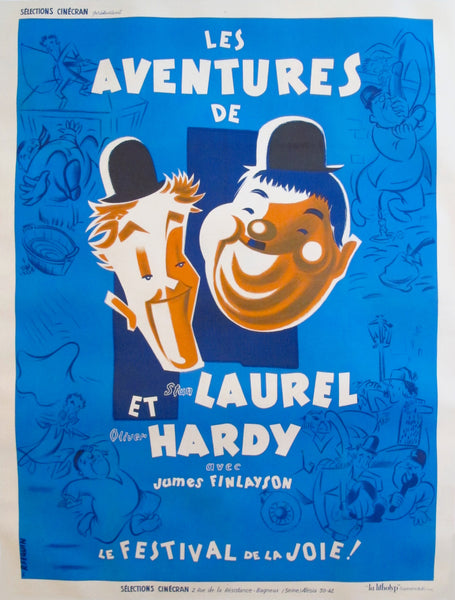 "1946 Vintage French Movie Poster - ""Les Aventures de Laurel et Hardy"""
