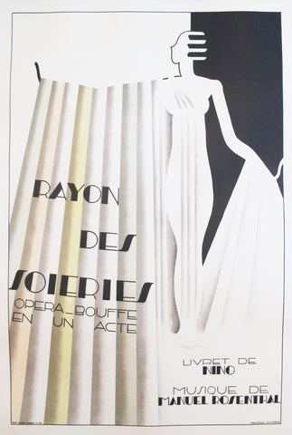 1930 Original French Art Deco Operetta Poster, Rayon des Soieries
