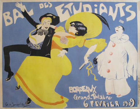 1909 Vintage French Belle Epoque Poster - Bal des Etudiants - Bordeaux