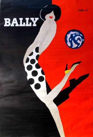 1980s French Poster, Bally Kick Shoe Advertising