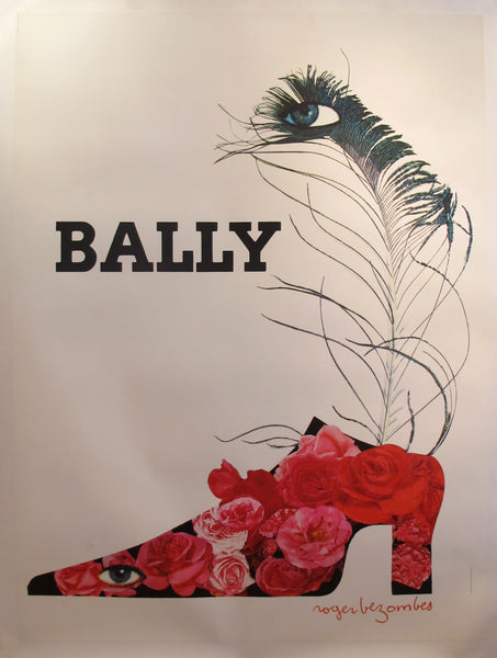 1965 Vintage French Poster - Bally Shoes (Flowers) by Roger Bezombes