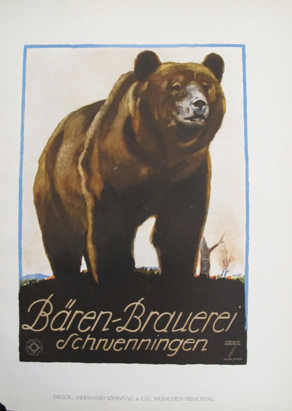 1926 Original German Poster, Bären-Brauerei Schruenningen (Brown Bear)