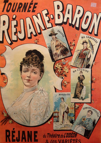 1900-1910 Original French Belle Epoque Poster Tournée Réjane Baron - Oge