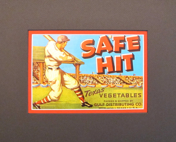 "1930-1940s Vintage American Vegetable Label - Baseball ""Safe Hit"""