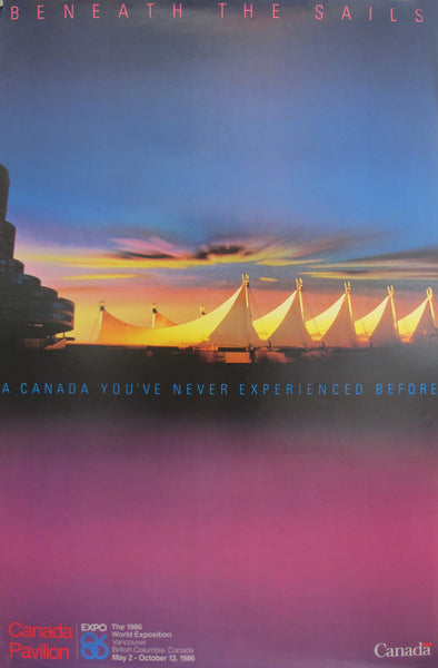 1986 Vancouver Vintage Poster, Expo 86 - Beneath the Sails, Canada Pavillion