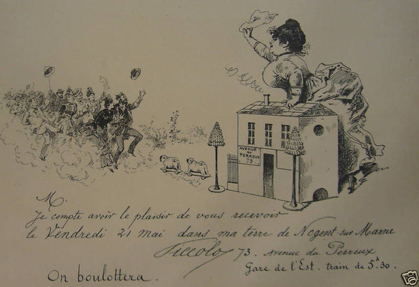1897 Original French Art Nouveau Poster, Les Programmes Illustrés, Invitation - On boulottera