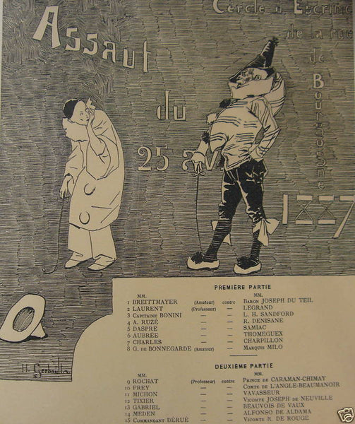 1897 Original French Art Nouveau Poster, Les Programmes Illustres, Assault du 25 Avril 1887