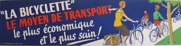 1954 French Vintage Bicycle Poster Banner, Bicyclette le moyen de transport
