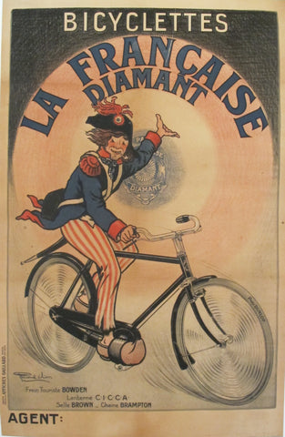 1910s French Vintage Poster, Bicyclettes La Francaise Diamant