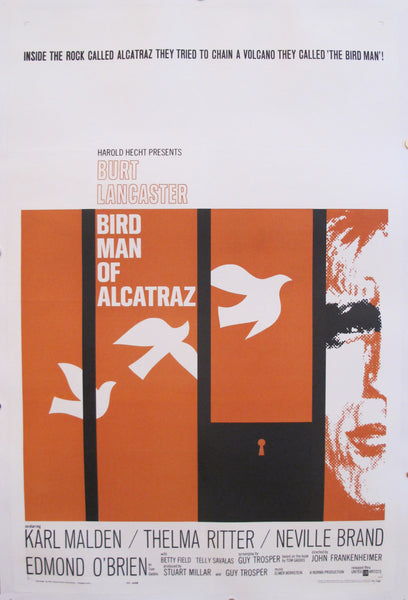 1962 Original American Movie Poster, Bird Man of Alcatraz