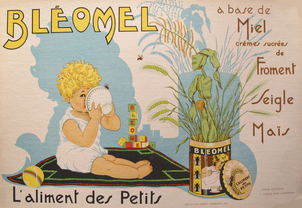 1933 Original French Baby Food Poster, Bleomel Childrens Food