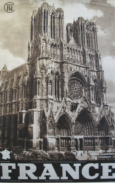 1950s Vintage French Travel Poster, Cathedral of Reims, Champagne