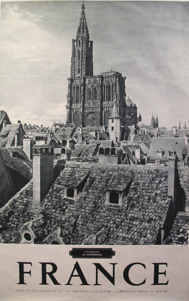 1950s Vintage French Travel Poster, Strasbourg Cathedral