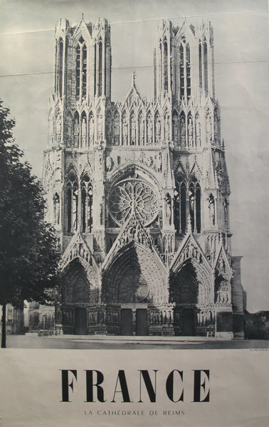 1950s Vintage French Travel Poster, Cathedral of Reims