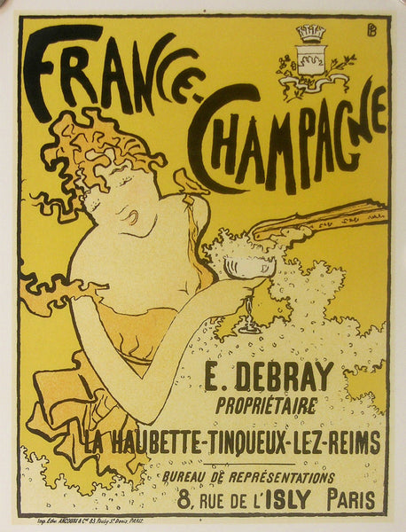 1952 Original French Alcohol Poster, France Champagne Exhibition