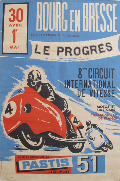 1960s French Motorcycle Racing Poster, Bourg-en-Bresse