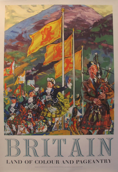 1954 Original Britain Travel Poster, Land of Colour and Pageantry - Harold Forster