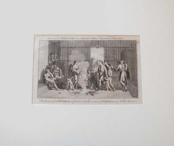 "1780 British Copperplate, ""The Ceremony of Divorce as Practiced by the Native Peoples of Canada in North America"""