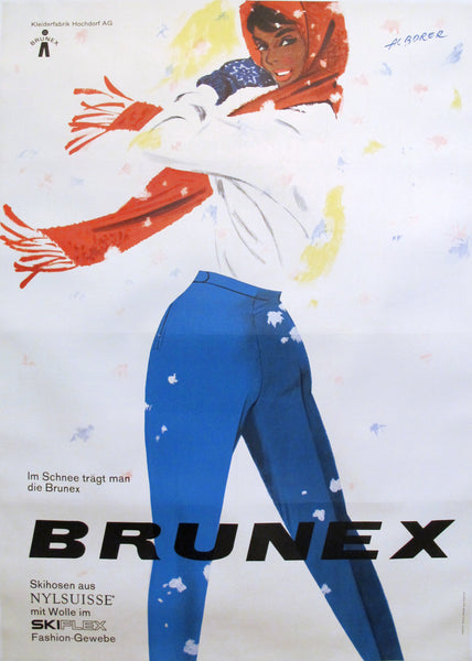 1959 Original Swiss Ski Poster, Brunex