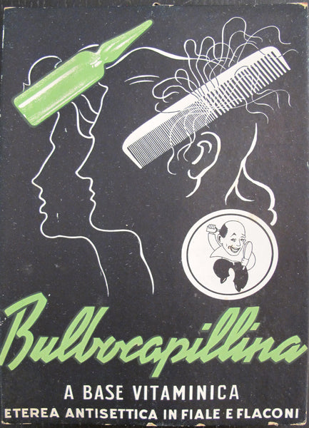 "1940's Original Vintage Italian Advertising Carton, ""Bulbocapillina - A base vitaminica"""