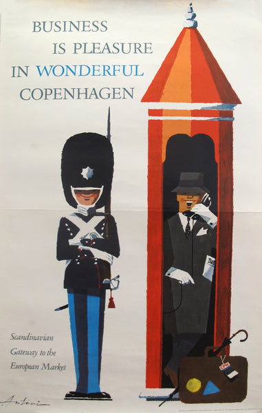 1960s Danish Poster, Business is Pleasure in Wonderful Copenhagen