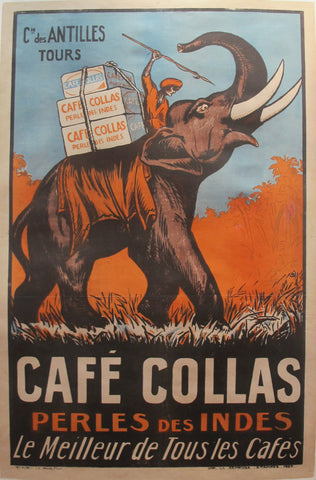 1927 Vintage French Coffee Poster, Cafe Collas