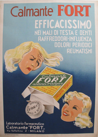 1950s Italian Medical Poster, Calmante Fort Painkiller Advertisement