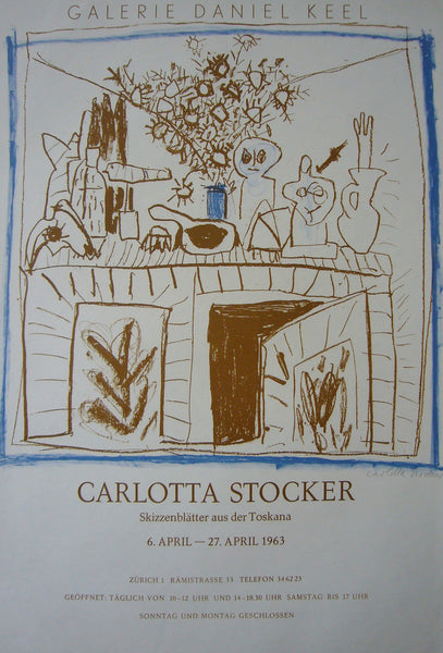 1963 Swiss Contemporary Poster - Carlotta Stocker Exhibition - Carlotta Stocker