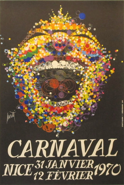 1970 French Travel Poster, Nice Carnaval