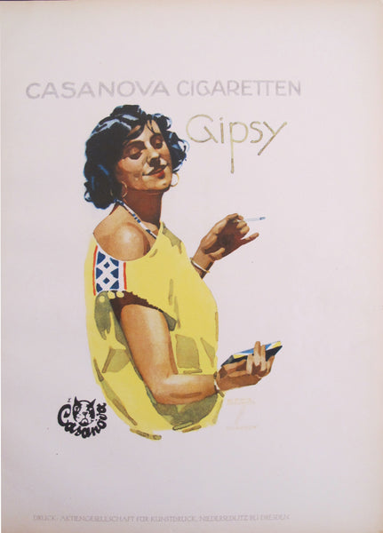1926 Original German Art Deco Poster, Casanova Cigaretten Gipsy (Woman in Yellow Dress)