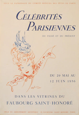 1956 Original French Poster, Celebrités parisiennes, Faubourg St. Honoré