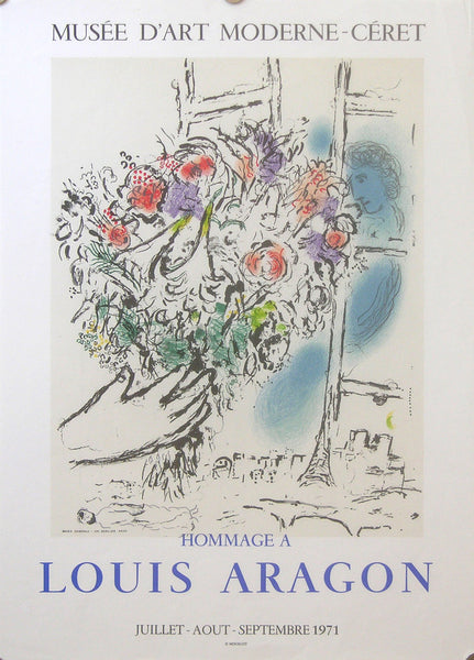 1971 Original Chagall Exhibition Poster, Hommage a Louis Aragon - Chagall