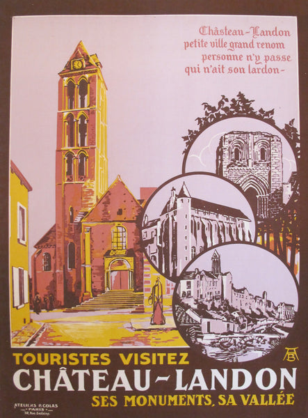 1900s Original French Travel Poster, Château Landon