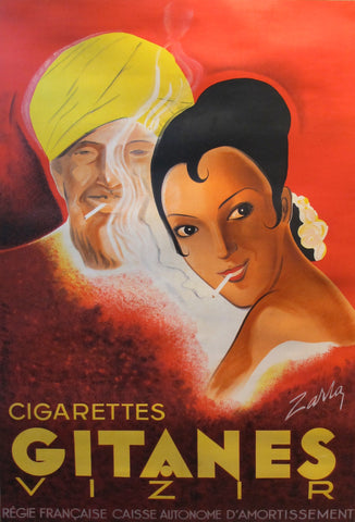 1939 Original French Art Deco Poster, Gitanes Cigarettes Advertisement