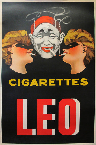 1920s Original French Art Deco Poster, Leo Cigarette