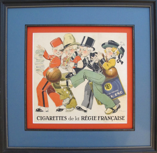 1930s French Art Deco Poster, Regie Francaise Children (framed)