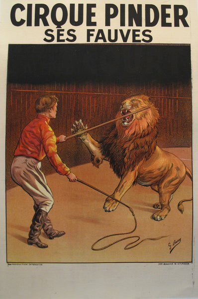 1900s Vintage French Circus Poster - Cirque Pinder - Lion Tamer - G. Soury