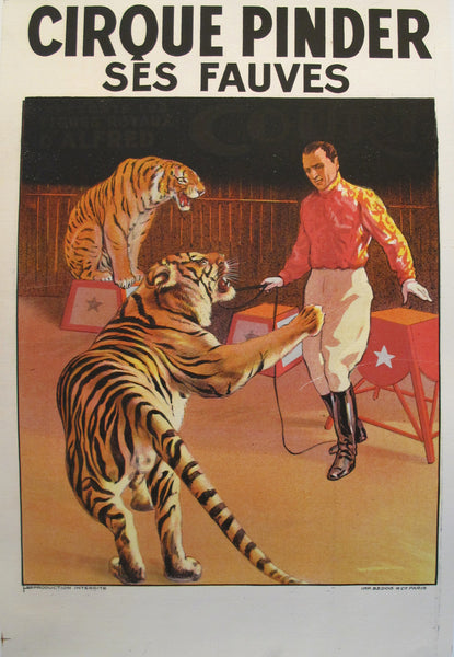1900s Vintage French Cirque Pinder Circus Poster, Tiger Tamer - G. Soury