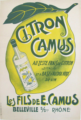 1910s French Vintage Belle Epoque Alcohol Ad, Citron Camus