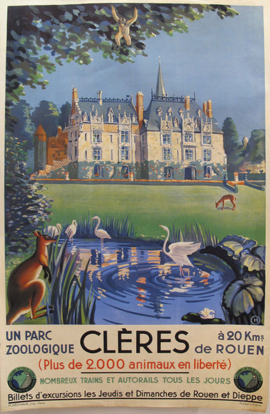 1930s Original French Art Deco Travel Poster, Clères Parc Zoologique (Rouen)