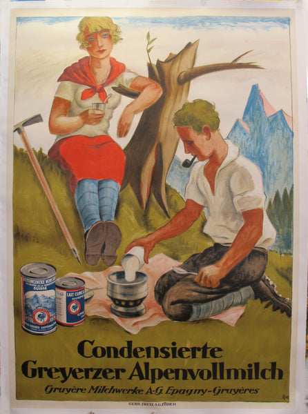 1925 Original German Art Deco Poster - Condensed Milk