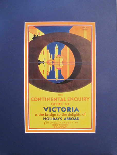 1920s Vintage Art Deco Mini Travel Poster, Continental Enquiry at Victoria