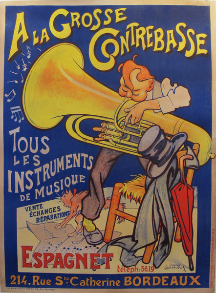 1920s French Belle Époque Music Poster, À la Grosse Contrebasse