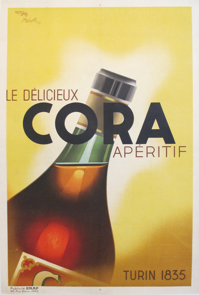 1934 Original French Alcohol Poster, Cora Aperitif