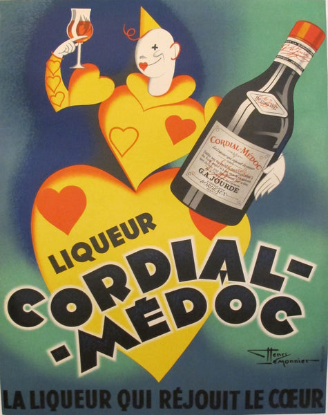 1936 French Vintage Art Deco Liquor Poster, Cordial Medoc